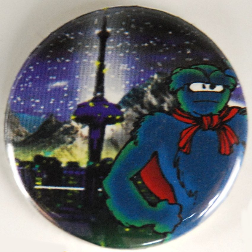 comic pin-back button, comic pinback button, toronto button