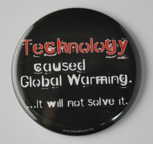 global warming button, environmental button, Primitivism