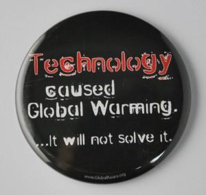 global warming button, environmental button, Primitivism