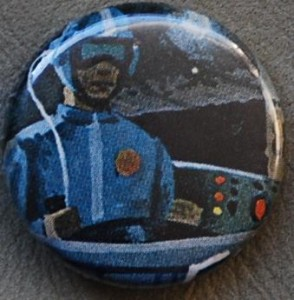 astronaut pin-back button, space button