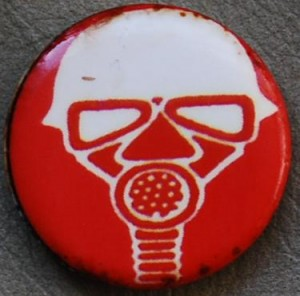 gasmask button, red pin-back button