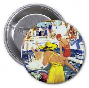 summer button, pool button, swimming button, pin-back button