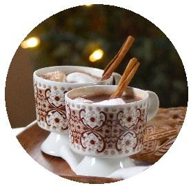 hot chocolate pin-back button, hot cocoa button, hot chocolate button