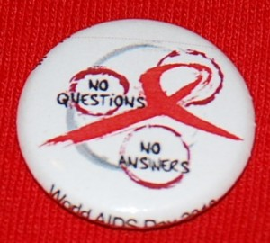 AIDS pin-back button, HIV pin-back button, AIDS button, HIV button, AIDS ribbon