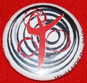 AIDS pin-back button, AIDS button, HIV pin-back button, HIV button, World AIDS Day